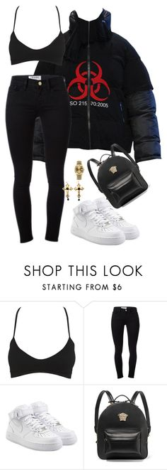 """I'm so fresh so clean I compete with the laundry house"" by hosana-317 ❤ liked on Polyvore featuring Wet Seal, Frame, NIKE, Versace and Rolex"