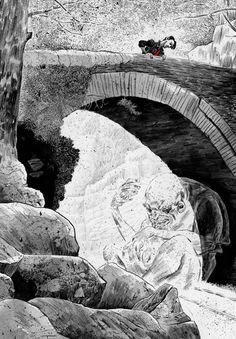 Dave McKean's art for Neil Gaiman's Smoke and Mirrors - Troll Bridge