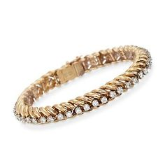 "Ross-Simons - C. 1970 Vintage Tiffany Jewelry 4.00 ct. t.w. Diamond Bracelet in 18kt Yellow Gold. 7"" - #843554"