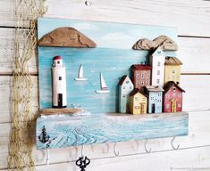 Sea Crafts, Diy And Crafts, Crafts For Kids, Driftwood Crafts, Seashell Crafts, Wooden Key Holder, Wood Creations, Little Houses, Craft Projects