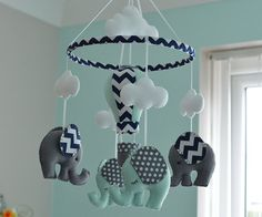 Elephant Mobile  Nursery Mobile  Baby Mobile    by FlossyTots