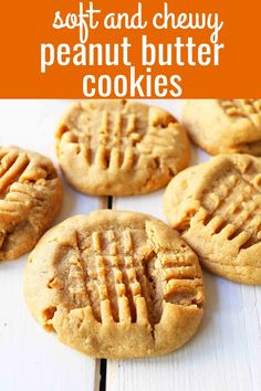 Soft and chewy Peanut Butter Cookies that melt in your mouth with every single bite! It's the best Peanut Butter cookie recipe, easy to make, and takes less than 15 minutes to prepare! Homemade Peanut Butter Cookies, Classic Peanut Butter Cookies, Chewy Peanut Butter Cookies, Butter Cookies Recipes, Easy Peanut Butter Recipes, Easy Homemade Cookies, Almond Butter Cookies, Best Peanut Butter, Dessert Party