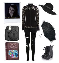 """""""Modern Lydia Deetz - Beetlejuice"""" by shadow-cheshire ❤ liked on Polyvore featuring Miss Selfridge, Topshop and modern"""