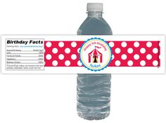 Circus Party 15ct Waterproof Drink Bottle by PinkSugarPartyShop