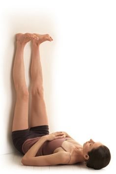 Legs-up-the-Wall: Pointing your legs skyward improves circulation and lets the blood that's been pooling in your lower legs flow back into the rest of the body, including the brain. You'll feel the release in the backs of your legs. Hold pose for five minutes.