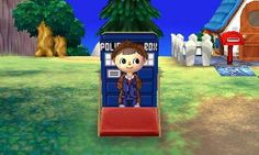 You can customize so much in Animal Crossing. :) My Doctor character again with DW/Tardis design cutout that I got from an online QR code. Fantasy Character, Character Design, Dream Code, Ac New Leaf, Pixie, Animal Crossing Qr, Fun Comics, Tardis, Tutorial