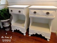 4 the love of wood: shabby chic white bedside tables or nightstands