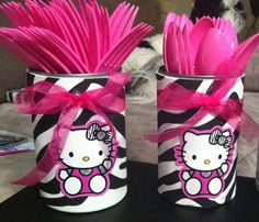 Utensil holder made for my daughters Birthday party! Recycled soup can, cent foam zebra sheet from hobby lobby and pink ribbon from hobby lobby and hello kitty party tags I found free online! Hello Kitty Baby Shower, Hello Kitty Theme Party, Hello Kitty Themes, Hello Kitty Cake, 6th Birthday Parties, 1st Birthday Girls, Zebra Birthday, Birthday Ideas, Lorie