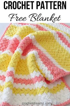 Try this easy and quick striped afghan free crochet pattern. This fast baby blanket will only take few hours and is great for a last minute gift. The textured stitch pattern is simple and perfect for beginners. Crochet Afghans, Crochet Baby Blanket Free Pattern, Easy Crochet Blanket, Blanket Yarn, Baby Afghans, Bernat Baby Blanket, Crochet For Beginners Blanket, Crochet Blankets, Crochet Gratis
