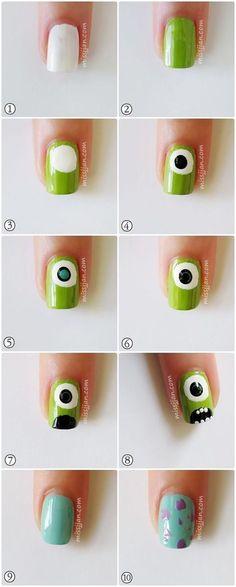 monster inc nails Trendy Nail Art, Nail Art Diy, Easy Nail Art, Diy Nails, Cute Nails, Manicure, Nail Nail, Nail Art Tools, Monster University Nails