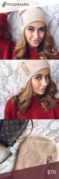 """Shine Bright"" Beanie incredibly fine cashmere/wool blend woven beanie with vibrant multi-facetted rhinestones, very warm, gorgeous statement headwear TSH Accessories Hats"