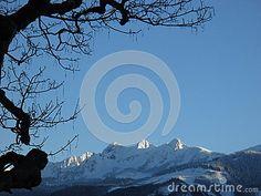 Snow mountains with tree siluett Snow Mountain, Photo Tree, Royalty Free Stock Photos, Celestial, Mountains, Outdoor, Image, Pictures, Outdoors