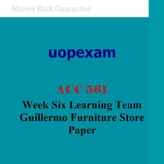 ACC 561 Week Six Learning Team Guillermo Furniture Store Paper