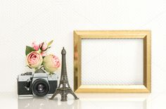 Golden picture frame and camera by LiliGraphie on Creative Market