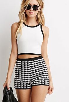 Abstract Houndstooth Pattern Knit Shorts | Forever 21 - 2000173624