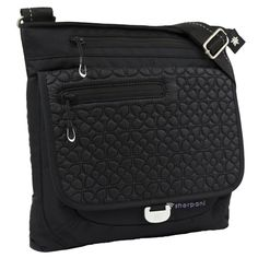 """Sherpani Jag LE Black: Medium Cross Body Bag. The Jag handbag offers a plenty of space & pockets on the inside and outside to carry all your essentials.         Sleek, low-profile design. Deep main zippered compartment. Tablet compatible up to 10"""". Large front flap pocket with magnetic closure. Two external, one internal zippered pocket. Rear external open pocket. External I.D. pocket. Adjustable shoulder strap. 30 denier ripstop silicon coated paneling. Exterior embroidery. 11"""" x 12"""" x 2"""""""
