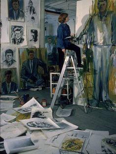 Elaine de Kooning in her New York studio
