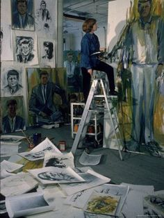 Elaine de Kooning in her New York studio