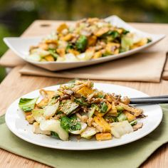 Tofu, Mushroom and Bok Choy Stir Fry - Vegan