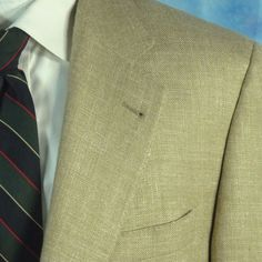 CANALI Proposta ITALY Mens 40R Tan Hopsack Woven Silk Linen Wool Blazer EUR 50R #Canali #TwoButton