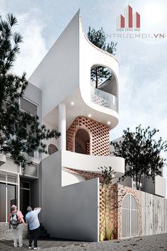 Ngôi nhà mọc lên thật nhẹ nhàng không một chút khoe khoang nét đẹp bên ngoài, không có những dư thừa công năng bên trong, không có những sân khấu trình diễn sắc màu hay chất liệu và cũng không bất ngờ với những đường cong, những gấp khúc giật mình chỉ nhằm để tôn vinh thủ thuật trong thiết kế. Modern Exterior House Designs, Narrow House Designs, Small House Design, Cool House Designs, Modern House Design, Concept Models Architecture, Facade Architecture, Indochine, House Elevation