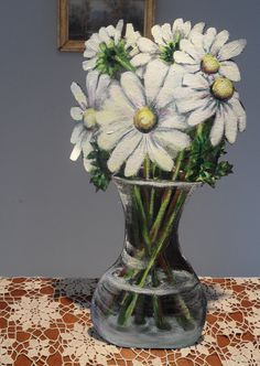 Always fresh daisies, acrylic trompe l'oeil Daisies, Hand Painted, Vase, Fresh, Plants, Home Decor, Margaritas, Decoration Home, Room Decor