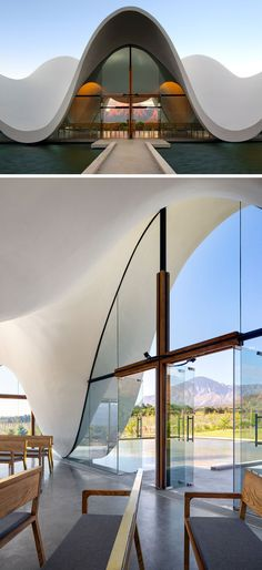 Architecture firm Steyn Studio have designed a sculptural and modern chapel, loc.Architecture firm Steyn Studio have designed a sculptural and modern chapel, located within a vineyard in Western Cape, South Africa, that's surrounded by a valle Architecture Design, Romanesque Architecture, Cultural Architecture, Sacred Architecture, Religious Architecture, Church Architecture, Organic Architecture, Modern Architecture House, Classical Architecture