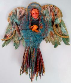 """Title: Wish - angel made from twinned homespun yarn, paper clay, cotton batting, silk cocoon. 13"""" x 13""""   TLH Creations"""