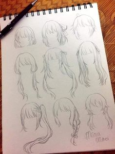 Anime Drawings Sketches, Pencil Art Drawings, Anime Sketch, Manga Drawing, Cute Drawings, Drawing Hair, Art Reference Poses, Drawing Reference, Pelo Anime