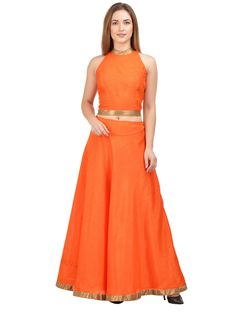 An outfit that will help you survive the onslaught of summer heat is this Orange coloured Lehenga with Orange Choli by castle. Not only does it exude a vibrant look but will also be extremely comfortable to wear, courtesy its light Cotton fabric.