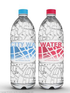 City Water, with map of Paris bump on the body of bottle. Packaging by Dzmitry Samal.