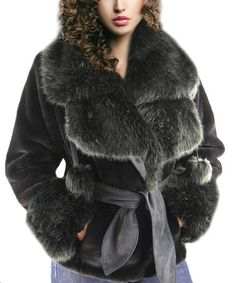 Another great find on #zulily! Black Beaver & Fox Faux Fur Coat #zulilyfinds