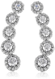 Platinum-Plated Sterling Silver Swarovski Zirconia Fashion Forward Climber Earrings *** Read more at the image link.