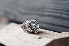 Silver signet ring  Chevalier ring  Sun ring  Medieval ring