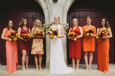 orange wedding ideas 2014 wedding trends Shades of orange. Fall bridesmaid dresses. Fall wedding