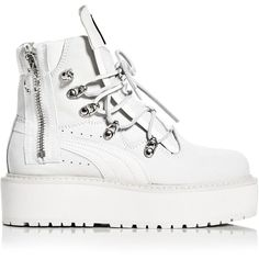 Fenty Puma x Rihanna Women's Platform Sneaker Boots (12.295 RUB) ❤ liked on Polyvore featuring shoes, boots, footwear, sports shoes, platform boots, sport shoes, chunky-heel boots and grunge shoes
