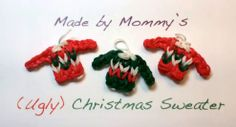 Make your own (Ugly) Christmas Sweater Charm on your Rainbow Loom. Uses just one loom, a hook and three colors of rubber bands. Loom Love, Fun Loom, Rainbow Loom Patterns, Rainbow Loom Creations, Rubber Band Crafts, Rubber Bands, Rainbow Loom Christmas, Loom Craft, Christmas Arts And Crafts