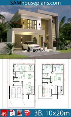 House Design Plans With 3 Bedrooms Plot Modern House Design bedrooms design House plans Plot 3d House Plans, Model House Plan, Duplex House Plans, House Layout Plans, House Layouts, Dream House Plans, Unique House Plans, Two Story House Plans, One Story Homes
