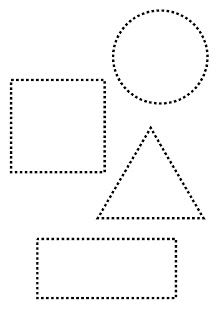 Copy the shapes on your notebook or a paper, then color and write the name of each shape: circle, square, triangle and rectangle. Shape Worksheets For Preschool, Shapes Worksheets, Preschool Writing, Numbers Preschool, Kindergarten Math Worksheets, Preschool Learning Activities, Teaching Shapes, Motor Coordination, Brio