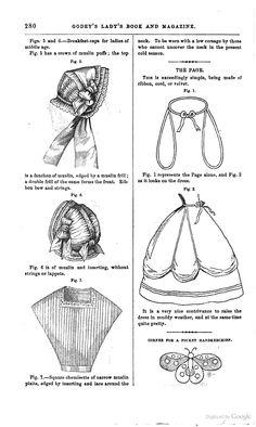 Godey's Magazine 1862 - Google Books. Pour le système de ruban pour relever les jupes.