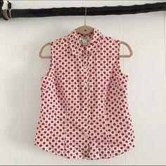 Retro Flower Tank Red flower print / button down tank / retro / MAKE AN OFFER Talbots Tops Button Down Shirts