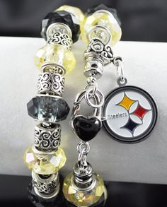 Pittsburgh Steelers Bracelet: European Charm Style on Etsy, $25.00