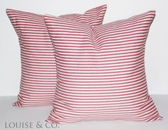 Pair of 16X16 Red and Natural Ticking Stripe by LouiseandCompany, $28.00