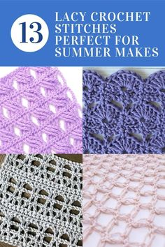 Lacy Crochet stitches compilation. these crochet stitches have lovely lacy look with lots of openwork making them the perfect stitches for summer crochet makes Crochet Flowers, Crochet Lace, Crochet Stitches, Crochet Patterns, Light Spring, Community, Stars, Summer, How To Make