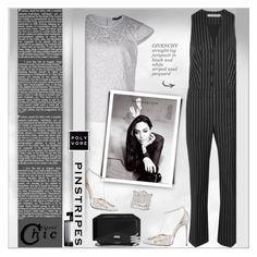 """Perfect Pinstripes!"" by alves-nogueira ❤ liked on Polyvore featuring Givenchy, Pinko, ANGELINA, René Caovilla, Aurélie Bidermann, L'Artisan Parfumeur and Allurez"