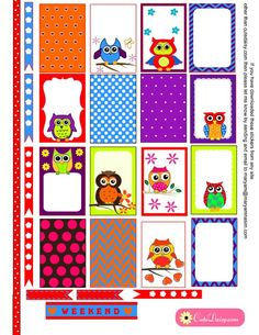 Free Printable Colorful Owl Stickers for Happy Planner: