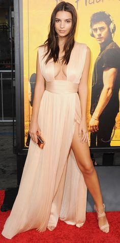 Emily Ratajkowski wowed at the Los Angeles premiere of We Are Your Friends in a plunging nude Grecian-inspired Maria Lucia Hohan gow.