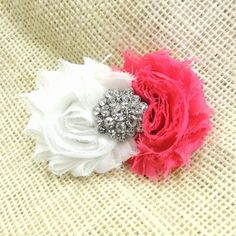 Rosette & rhinestone hair clip.  May be worn alone or on a headband.  Available at www.theadorablechild.com Rosettes, Hair Clips, Hair Accessories, Band, Earrings, Jewelry, Fashion, Hair Rods, Ear Rings