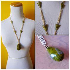 Bakelite Marbled Green Pendant necklace by DiamondDustVintage