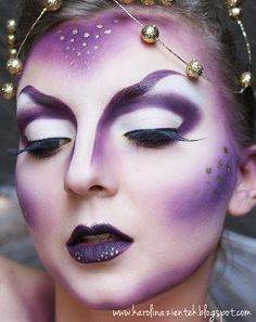 I love this alien inspired makeup but I would change the purples to more silvery/ grey colours because I think the purple makes it look a bit too fantasy.